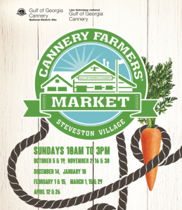 The Cannery in Steveston Village, Richmond is having a Winter's Farmers' Market this Winter.