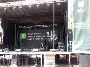 I was one of the many who helped put up one of the main stages for the Vancouver International Jazz Festival.