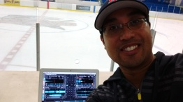 My first time DJing at an ice rink.  Oh, my fingers were freezing!