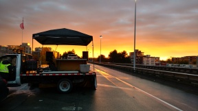 This was my DJ truck at the 6K mark of the Rock and Roll Vancouver Marathon. It was a beautiful sunrise!