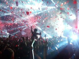 Confetti rained down as dancers shaked and moved to the beat of Hardwell.